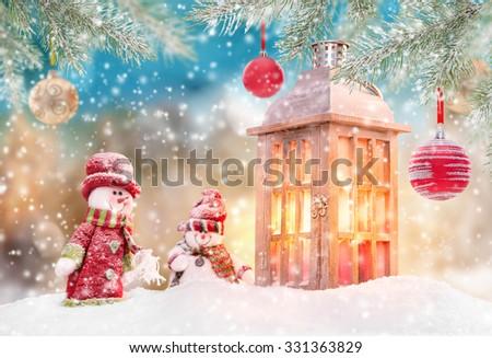 Christmas background with lantern - stock photo