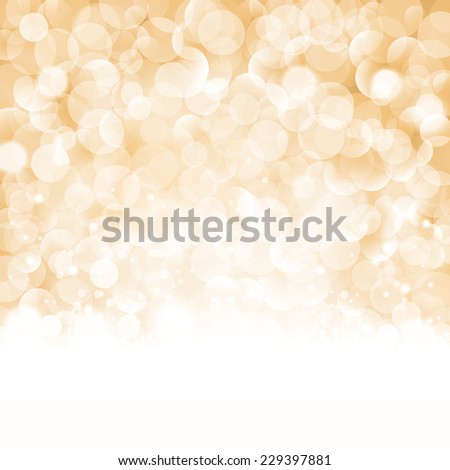 Christmas background with light effects and blurry light dots in shades of beige, golden and white. Centered is a label with the lettering Merry Christmas and Happy New Year. - stock photo