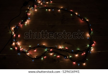 Christmas background with lights and free text space