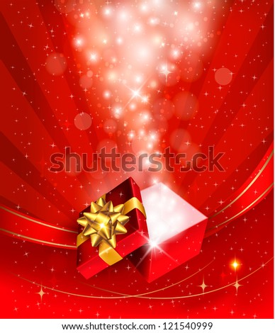 Christmas background with open gift box. Raster version of vector.