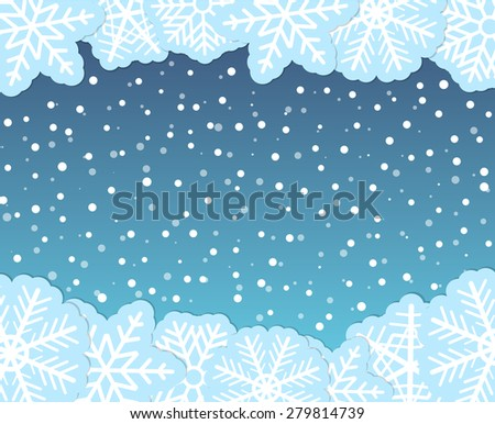 Christmas background with paper flakes. Raster version - stock photo