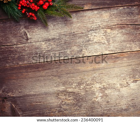 Christmas background with pine branch and copy space - stock photo