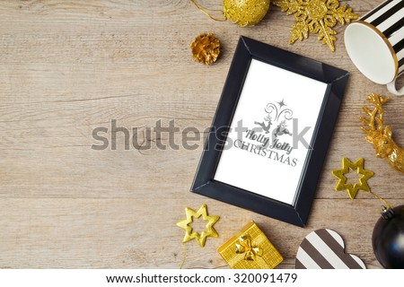 Christmas background with poster mock up template and decorations. View from above - stock photo