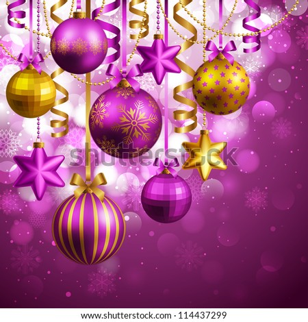 Christmas background with purple and golden baubles. Check my portfolio for vector version. - stock photo