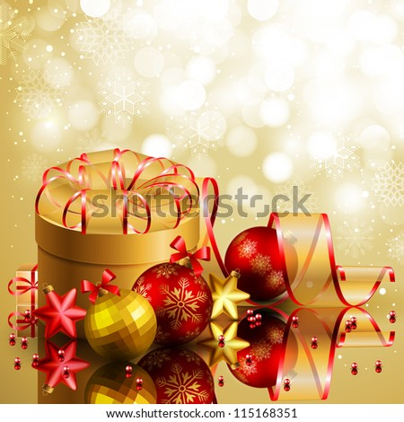 Christmas background with red and golden balls. Check my portfolio for vector version.