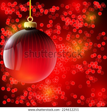 Christmas background with red ball - stock photo