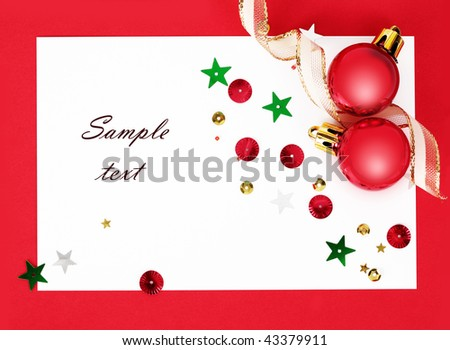 Christmas background with red balls and a ribbon(With sample text)