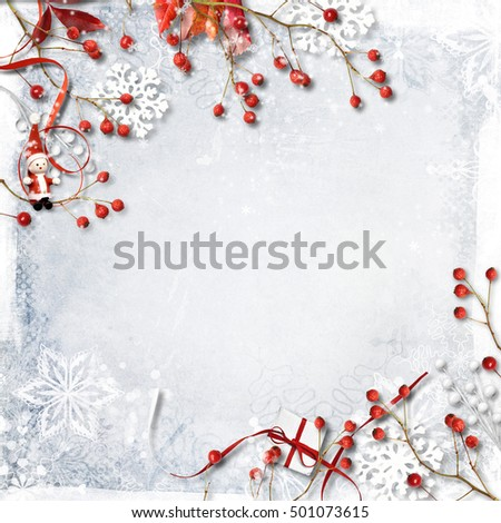Christmas background with red berries, snowflakes and decoration