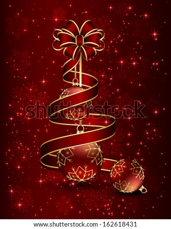 Christmas background with red bow, ribbon and three balls, illustration.