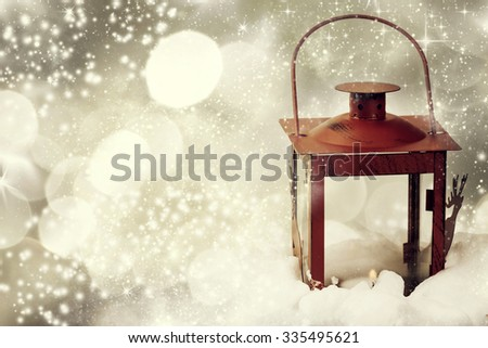 Christmas background with red lantern and snowflakes