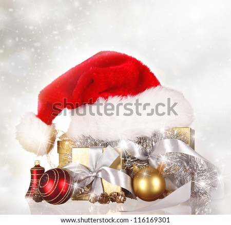 Christmas background  with Santa cap - stock photo
