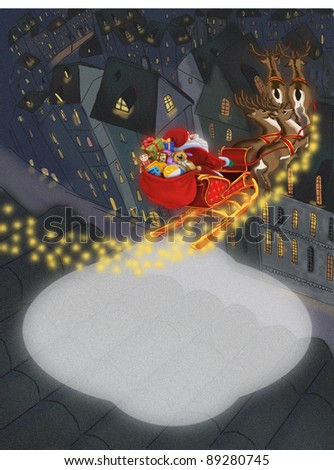 Christmas background with Santa Claus - stock photo