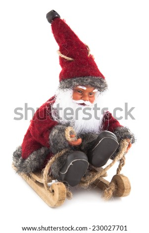 christmas background with Santa Claus and baubles in snow - stock photo
