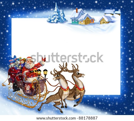 Christmas background with Santa Claus in a sleigh with reindeer - stock photo