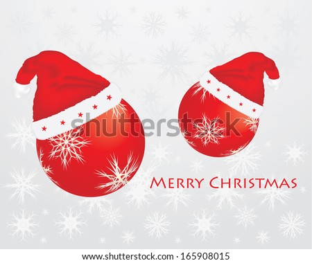 Christmas background with santa hats and balls - stock photo