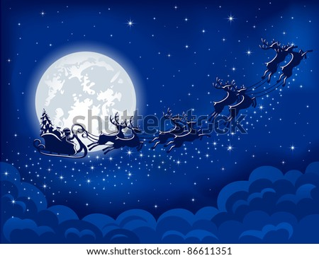 Christmas background with Santa sleigh, illustration - stock photo