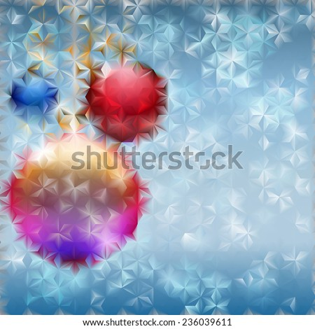 Christmas background with several Christmas balls and light blue snowflakes behind fluted glass - stock photo