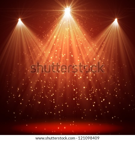 christmas background with shining stars and rays - stock photo