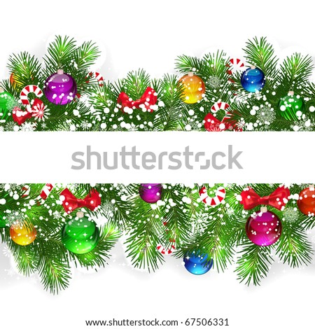 Christmas background with snow-covered branches of Christmas tree. - stock photo