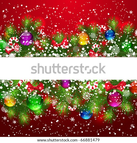 Christmas background with snow-covered branches of Christmas tree, decorated with candies and balloons. - stock photo