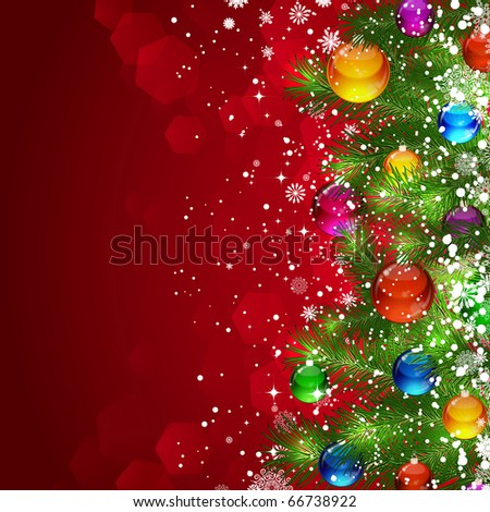 Christmas background with snow-covered Christmas tree decorated with glass balloons - stock photo