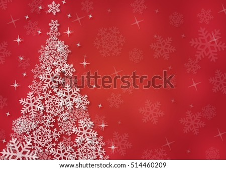 Christmas background with snowflakes and Christmas tree in red colored scenery