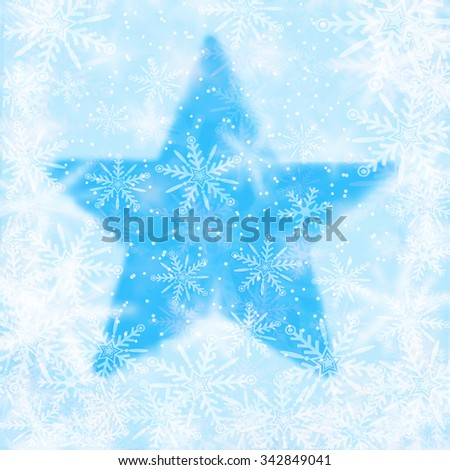 Christmas background with snowflakes and the shape of a star - stock photo