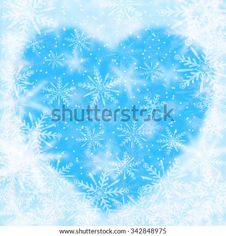 Christmas background with snowflakes and the shape of heart - stock photo