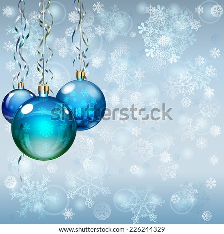 Christmas background with snowflakes, several Christmas balls and serpentines