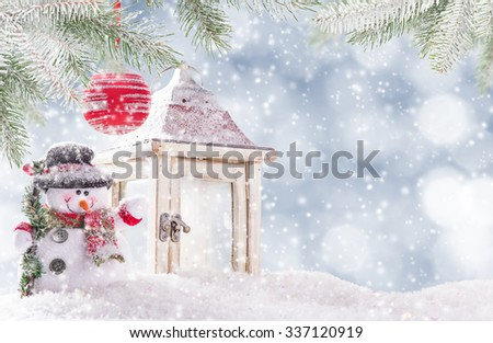 Christmas background with snowman  - stock photo