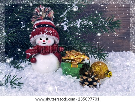 Christmas background with snowman and gifts - stock photo