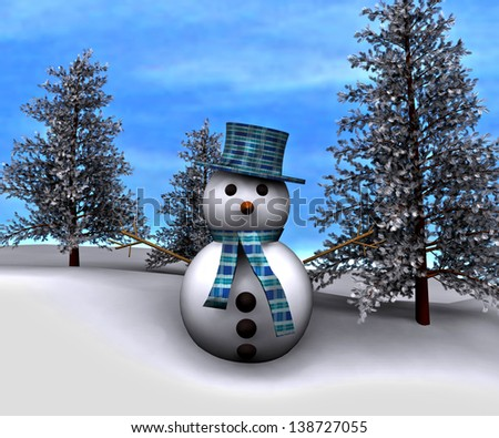 Christmas background with snowman in winter landscape - stock photo