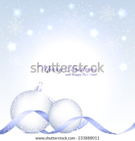Christmas Background with Sparkling Crystal Ball and Star - stock photo
