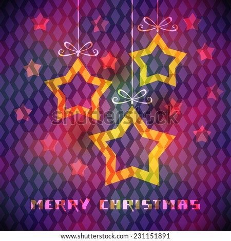 Christmas background with sparkling decoration, gold stars. Original elegant card. Decorative color illustration in disco geometric style for print, web - stock photo