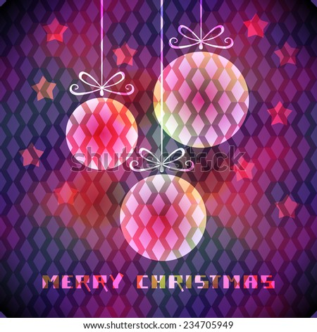 Christmas background with sparkling decoration, stars, greeting. Original elegant poster. Abstract decorative color illustration in disco geometric style for print, web - stock photo
