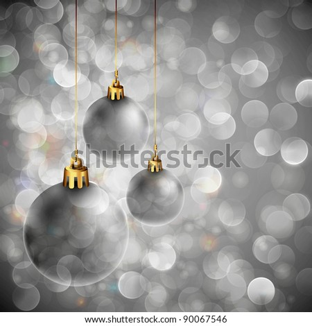 Christmas Background with Sparkling Lights and Silver Orbs - stock photo