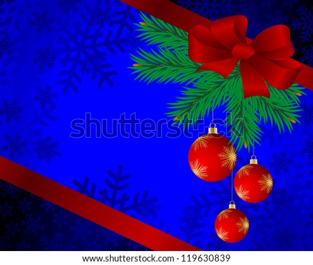 Christmas background with spheres and fur-tree branches. - stock photo