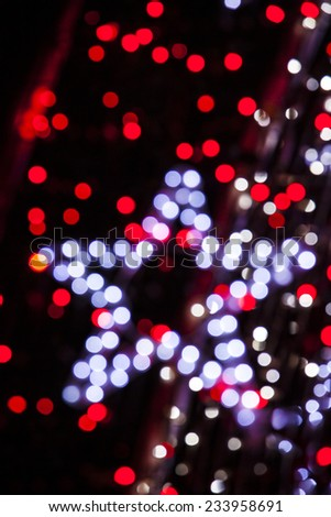 christmas background with star lights bokeh background - stock photo