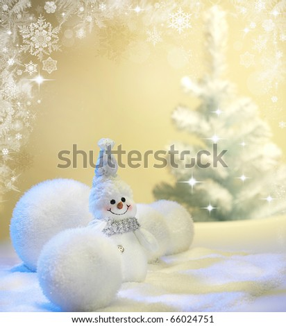 Christmas background with stars and snowflakes - stock photo