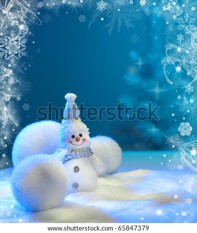 Christmas background with stars and snowflakes and snowman - stock photo