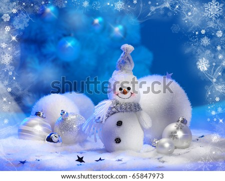 Christmas background with stars and snowflakes snowman - stock photo