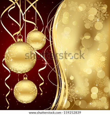 Christmas background with three golden baubles, illustration. - stock photo