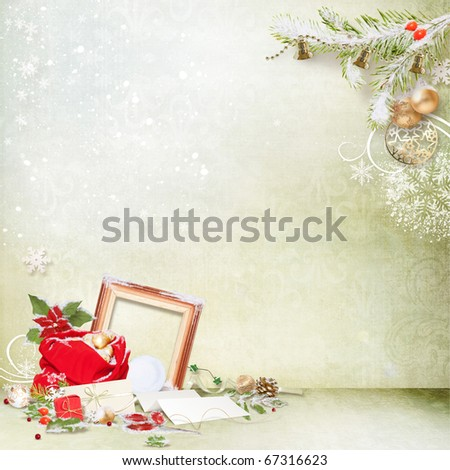 Christmas background with traditional decorations - stock photo