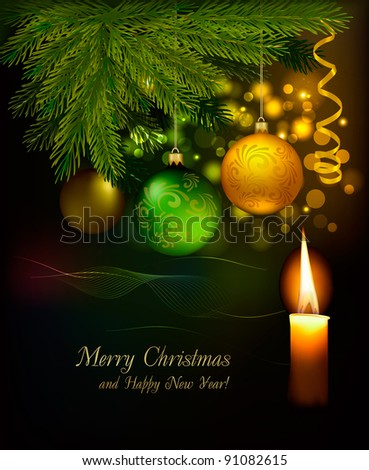 Christmas background with tree and baubles. Raster version of vector. - stock photo