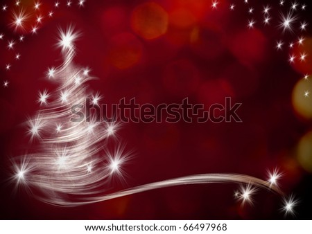 christmas background with tree and lights - stock photo