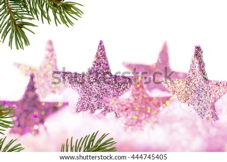 Christmas background with violet stars and christmas twig - stock photo