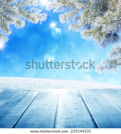 christmas background with wooden planks  - stock photo
