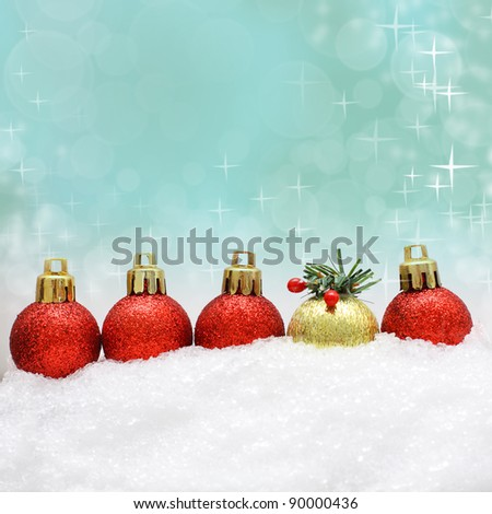 Christmas background with Xmas decoration and snow - stock photo