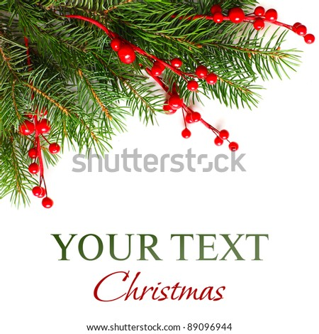 Christmas background with Xmas green fir tree - stock photo