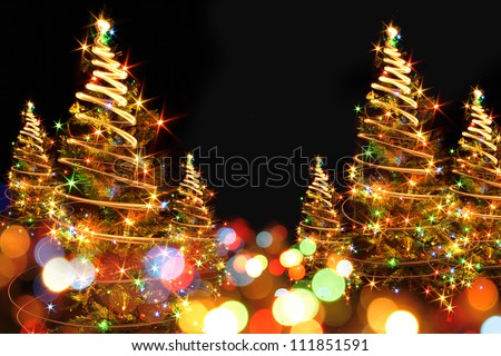 christmas background with xmas lights - stock photo